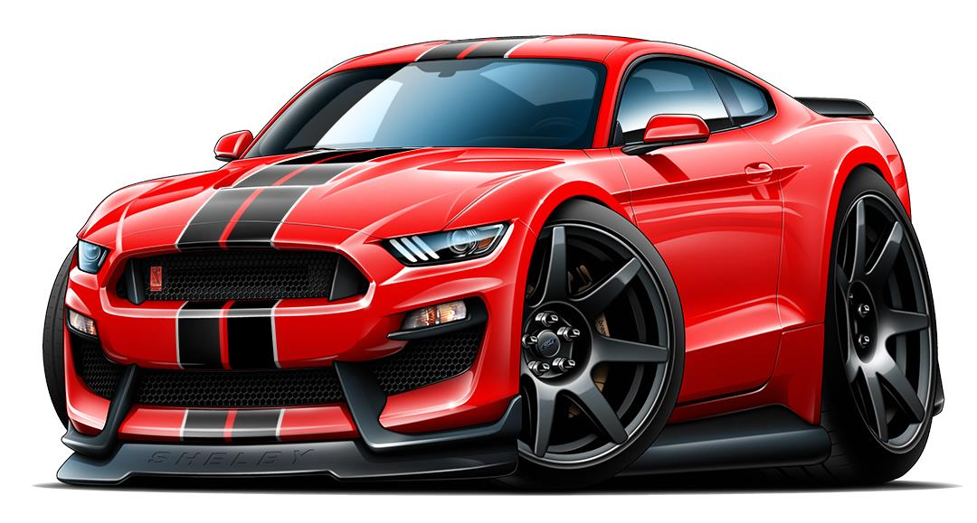 2016 2017 Shelby Gt350 Mustang Car Toon Wall Art Graphic