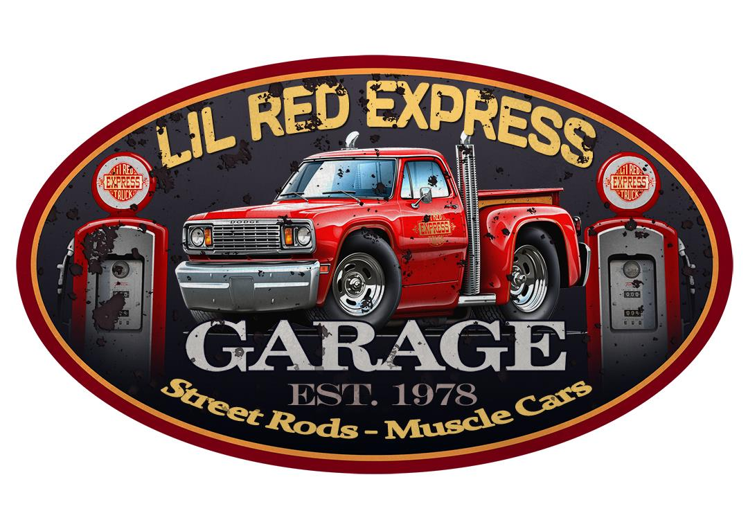 1978 Dodge Lil Red Express Truck Car Toon Wall Art Graphic
