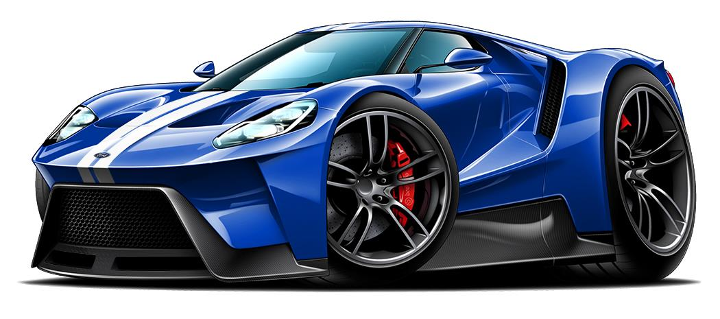 Ford Gt Exotic Car Car Toon Wall