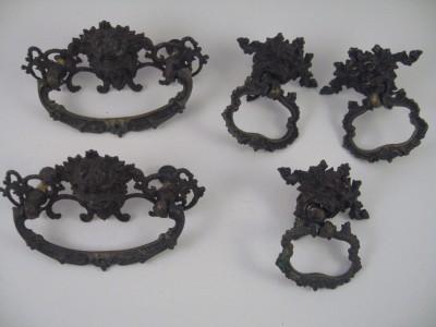 Vintage Metal Lion Head or Gargoyle Drawer Pulls 2 Sizes Hardware