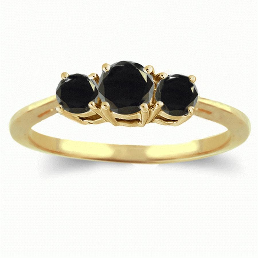 3 Carat Three Stone Black Diamond Ring in 14K White or Yellow Gold