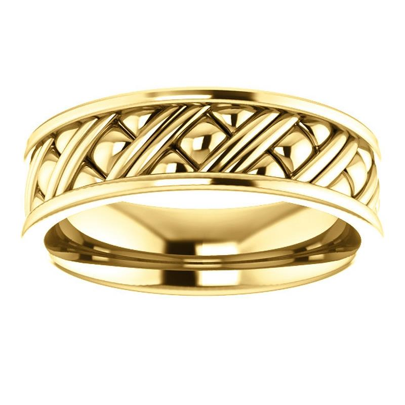 14k rose gold woven style wedding band ring ebay for Woven wedding ring