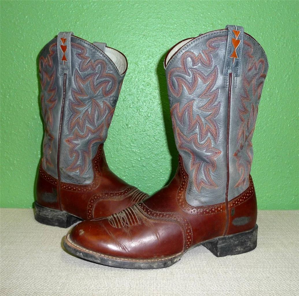 vtg ariat cobalt xr leather brown blue western cowboy