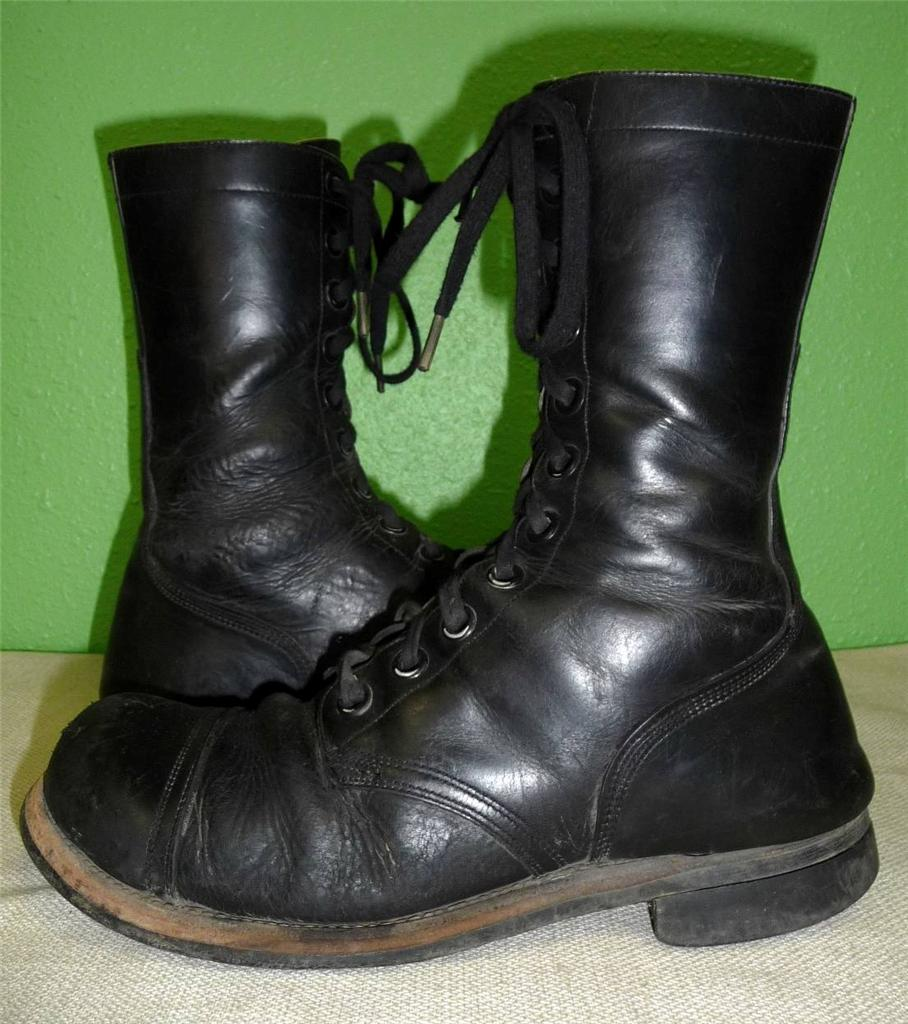 vtg cap toe black leather combat jump boots bf