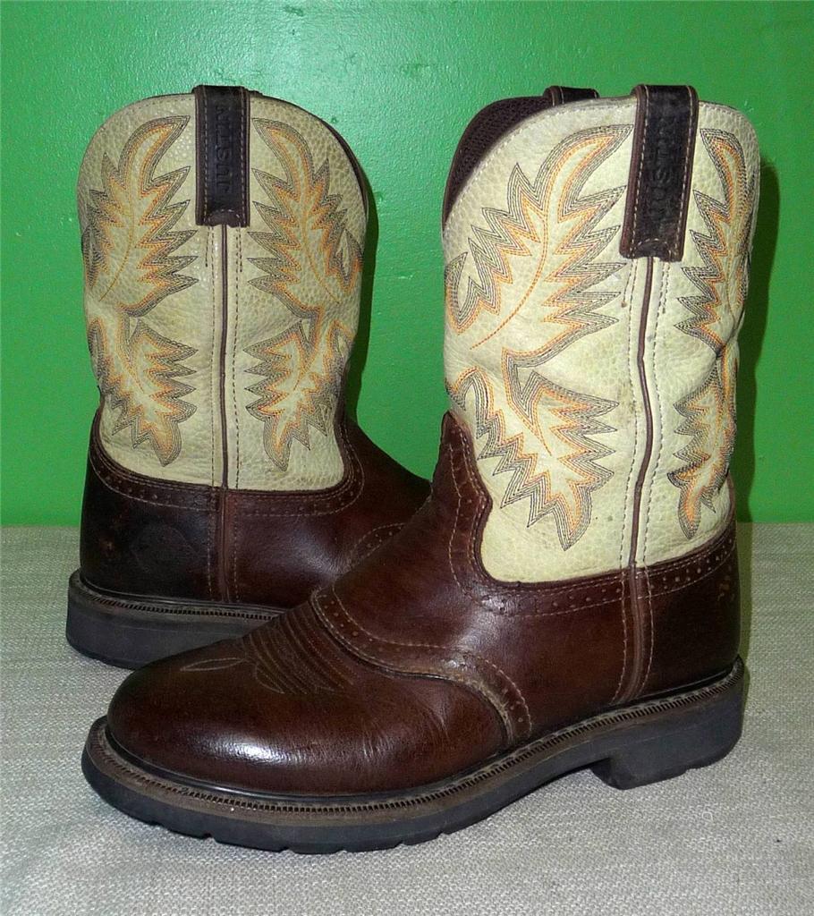 Justin Stampede 2 Tone Brown Leather Western Cowboy Roper