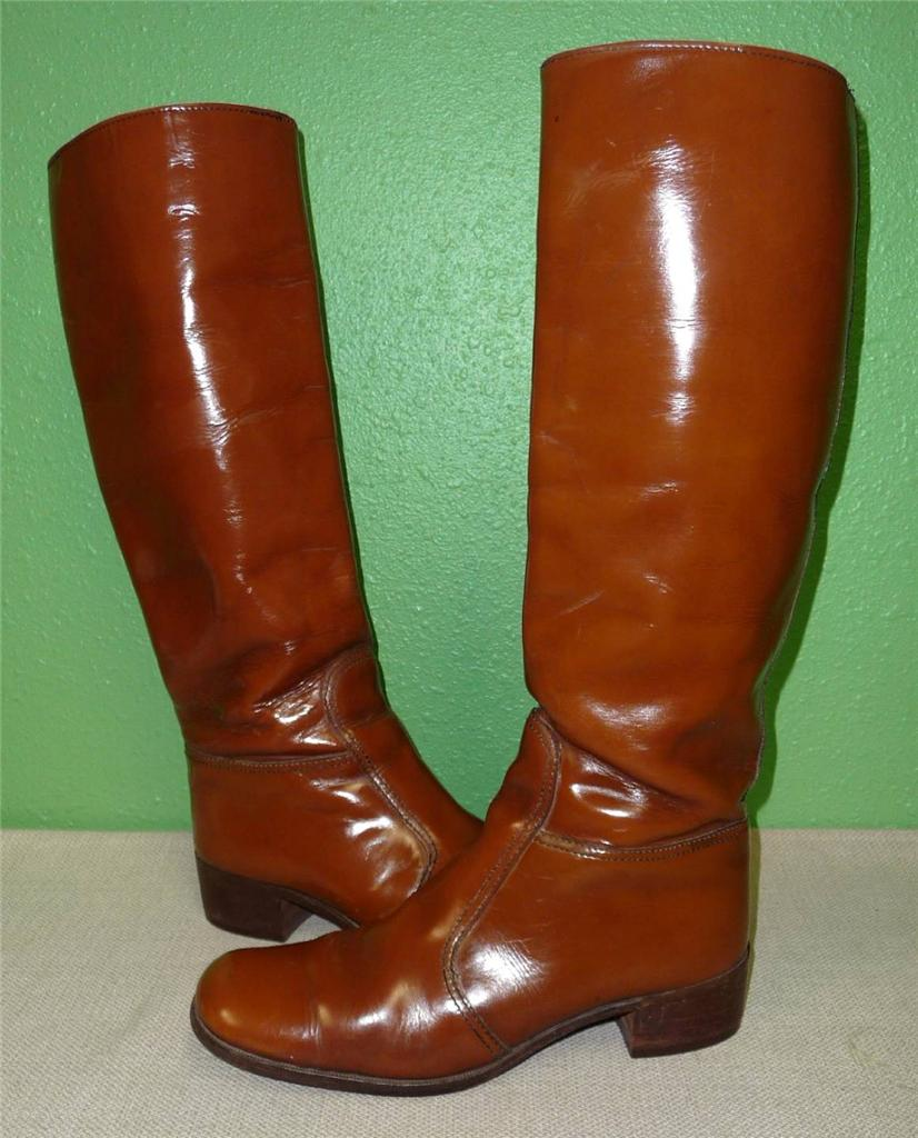 vtg stovepipe equestrian cognac brown leather knee high
