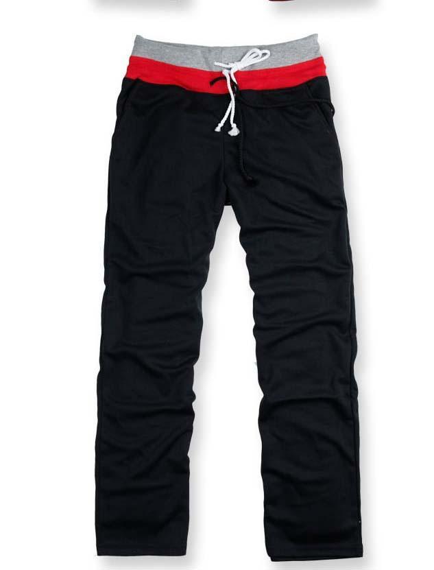 Mens-Fashion-Double-Drawstring-Sweatpants-Sport-Trouser-S-M-L-XL-2XL-Gray-Black