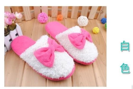 1 Pair Fashion Warm Sweet Big Bow Plush Home Slippers
