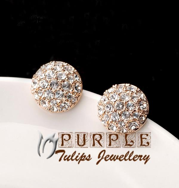 18CT-Rose-amp-White-Gold-Plated-Made-With-Swarovski-Crystals-Ball-Stud-Earrings
