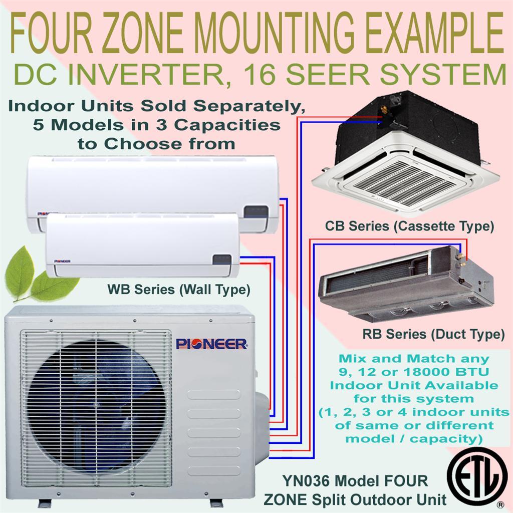 Quad Multi Split 4 Zone Pioneer 16 SEER Inverter Mini Split Ductless  #1C1DAF