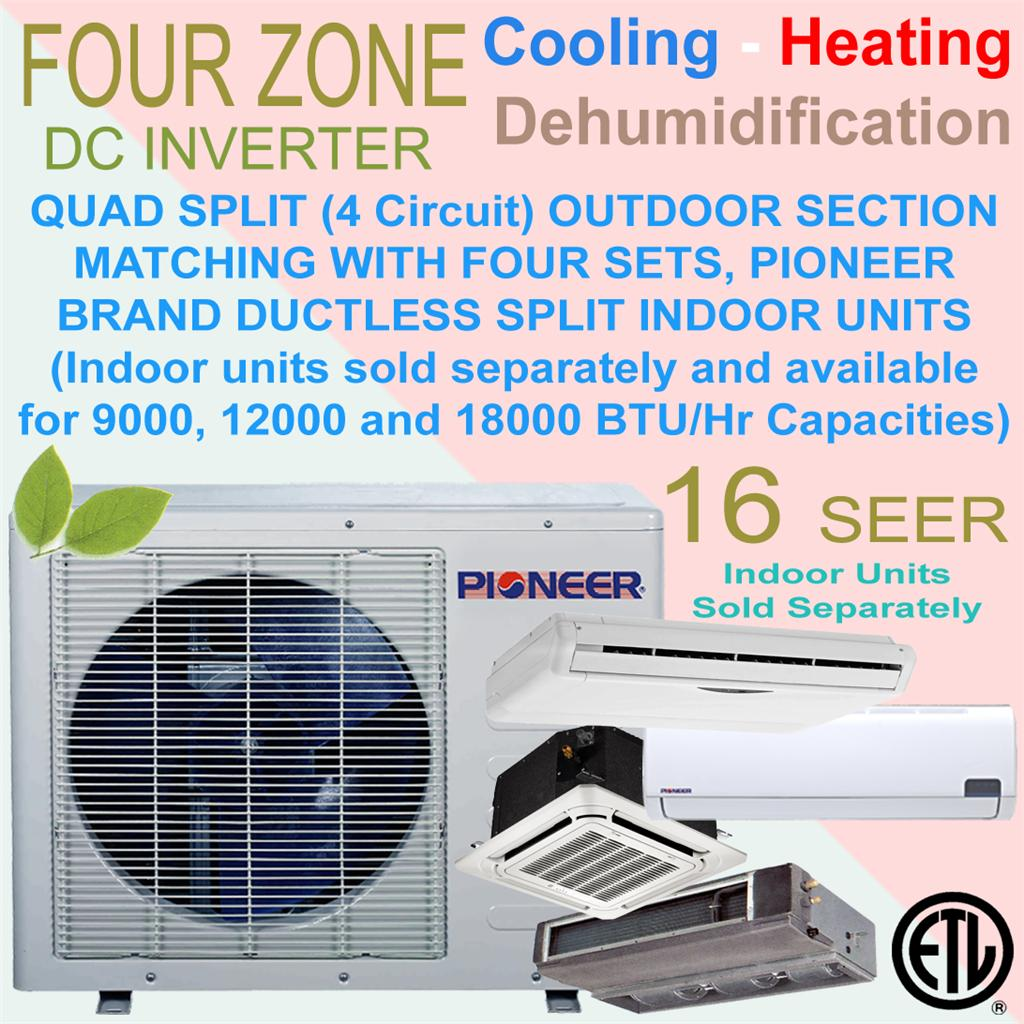 Quad Multi Split 4 Zone Pioneer 16 SEER Inverter Mini Split Ductless  #0F71BC