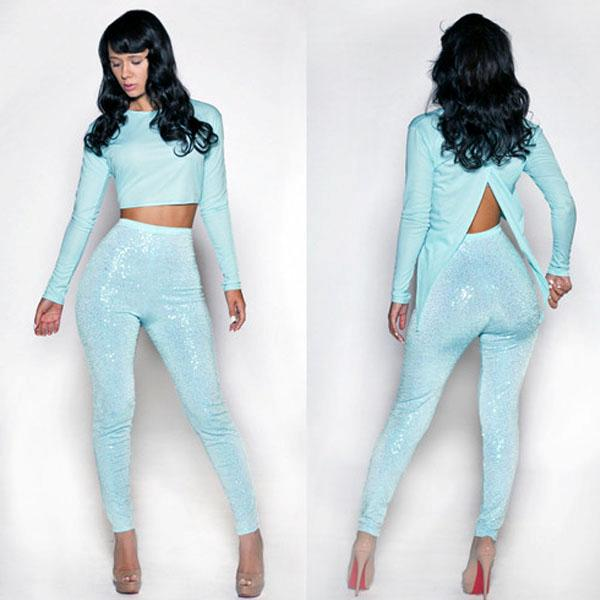 turquoise womens ladies long sleeve bodycon trousers