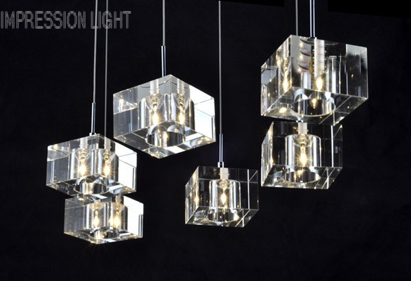 Morden cubes crystal light chandelier living room dining for Ebay living room lights