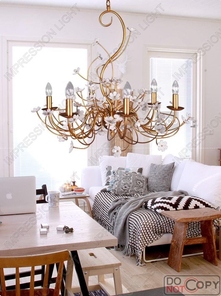 vintage flower sea lights chandelier ceiling light bedroom living room