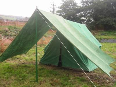 Vintage green canvas ridge pole scout tent with fly porch for Canvas tent fly