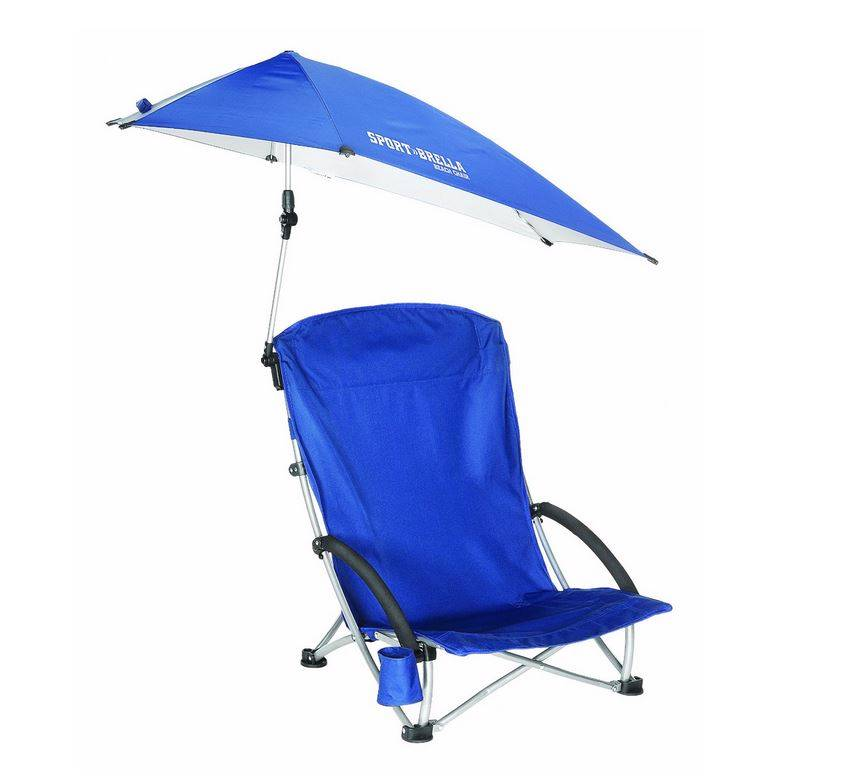 New Sport Brella Beach Pool Chair with Canopy Umbrella Sun Protect Fold Up Bl
