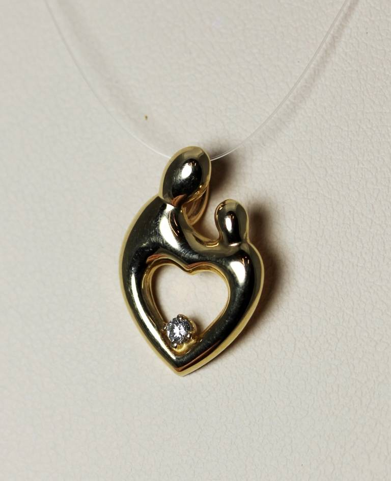 14k gold diamond mother child heart pendant by janel