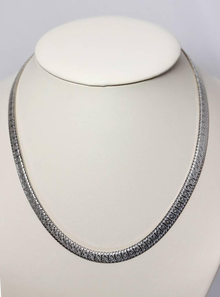 sterling silver milor italy cut wide herringbone