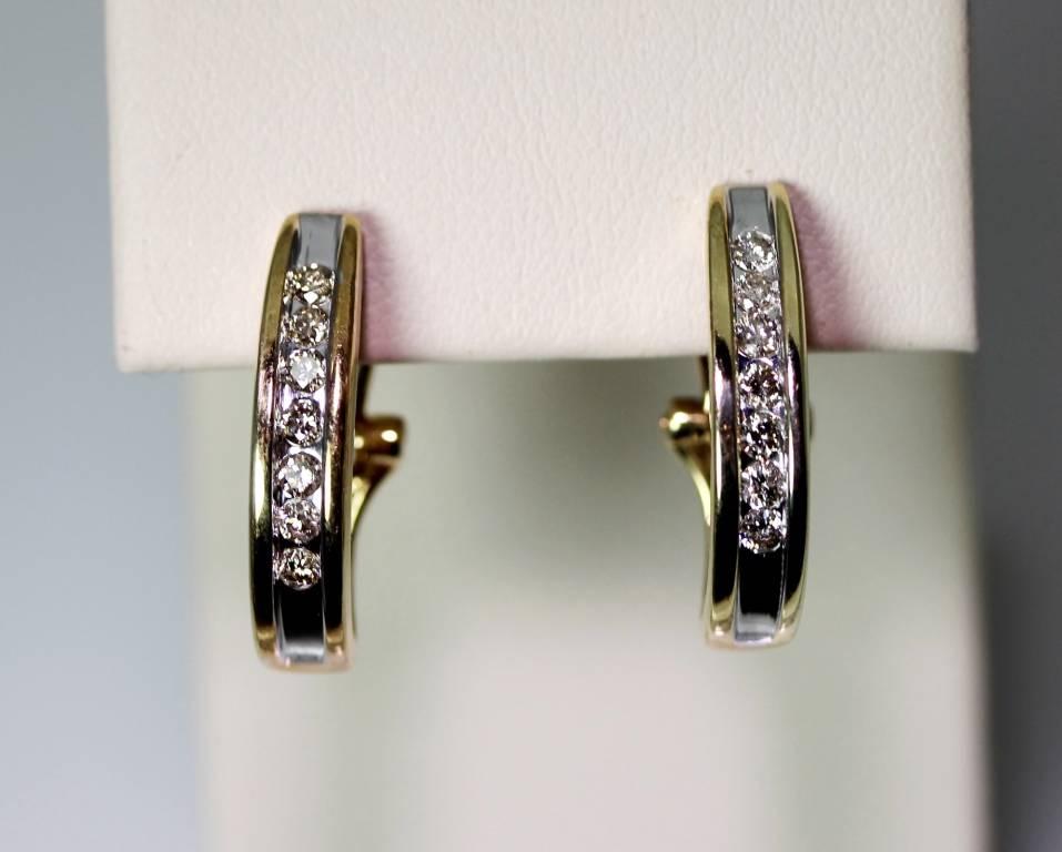 10k white yellow gold 35ctw champagne diamond j hoop. Black Bedroom Furniture Sets. Home Design Ideas