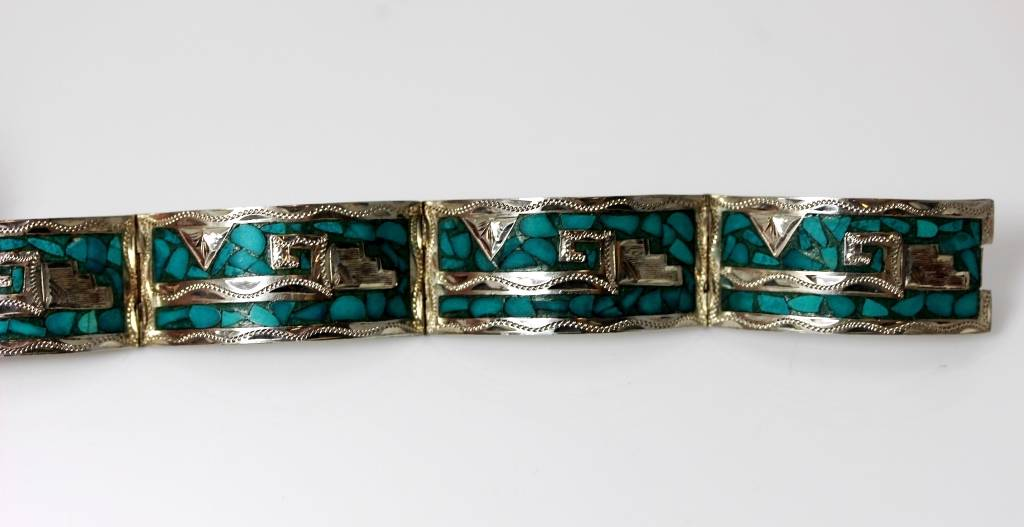 Aztec Inlay Turquoise Panel Sterling Silver Bracelet 6 75