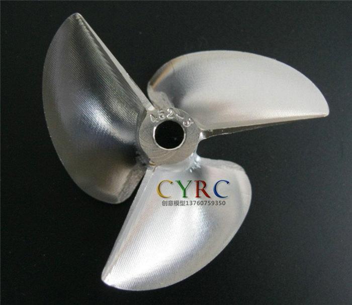 D65mm x P1.6 x Φ6.35mm RC Boat Aluminum CNC Slotted 3-Blade Propeller