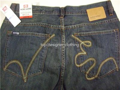 New-Ecko-Unltd-Rhino-Blue-Loose-Fit-Denim-Jeans-32-34
