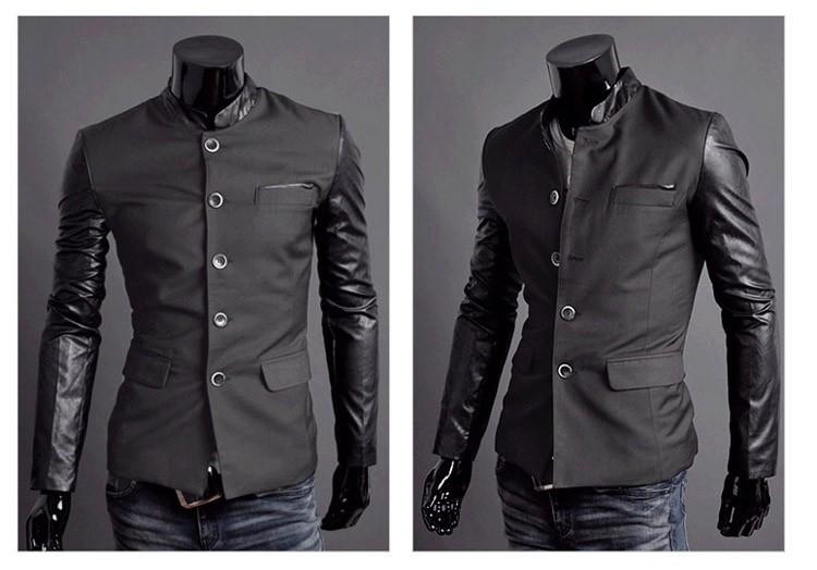 Saku Japan Men slim fit leather jacket