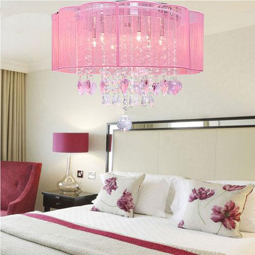 Pink drum shade crystal ceiling chandelier pendant light - Lamparas modernas dormitorio ...