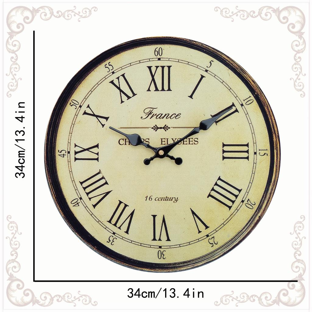 Vintage Style Wooden Wall Clock Large Shabby Chic Rustic