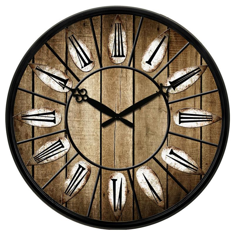 Large Vintage Wooden Wall Clock Shabby Chic Rustic Kitchen