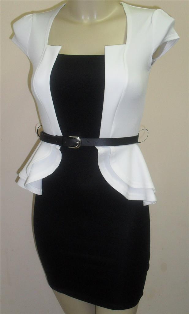 stunning high quality white and black pencil skirt peplum