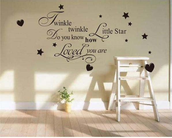 TWINKLE TWINKLE LITTLE STAR HOW MUCH I LOVE YOU Baby Nursery Decal Wall  Sticker Vinyl Decor Part 49