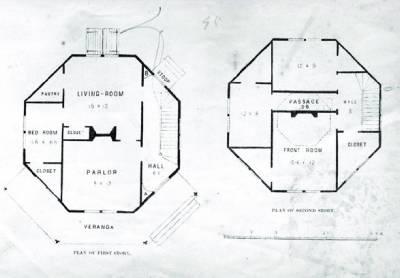Octagon home plan blueprint joy studio design gallery for Octagonal building plans