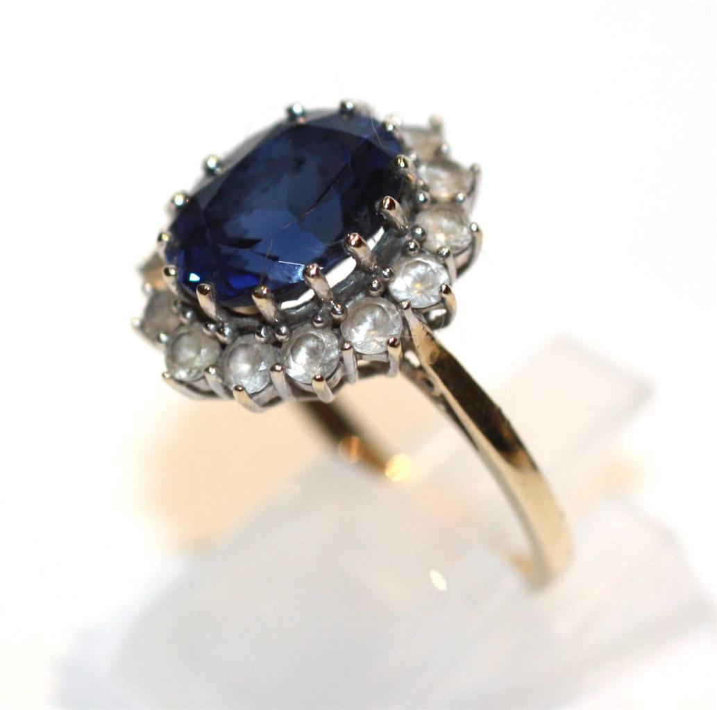 10ct sapphire cubic zirconia ring princess diana style