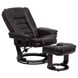 Overstuffed Brown Leather Recliner Lounge Chair Ottoman