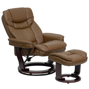 Overstuffed Luxury Brown Leather Recliner Lounge Chair