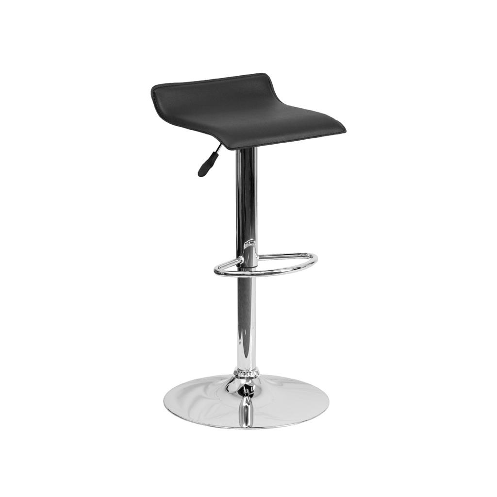 Modern Adjustable Height Bar Stool Chrome Backless Swivel