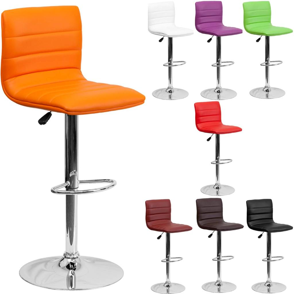 Unique modern adjustable height metal bar stool swivel color diner seat chair ebay - Average height of bar stools ...