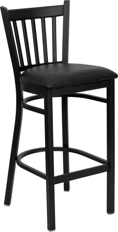 Heavy Duty Metal Bar Stool Vert Back Chair Kitchen ...