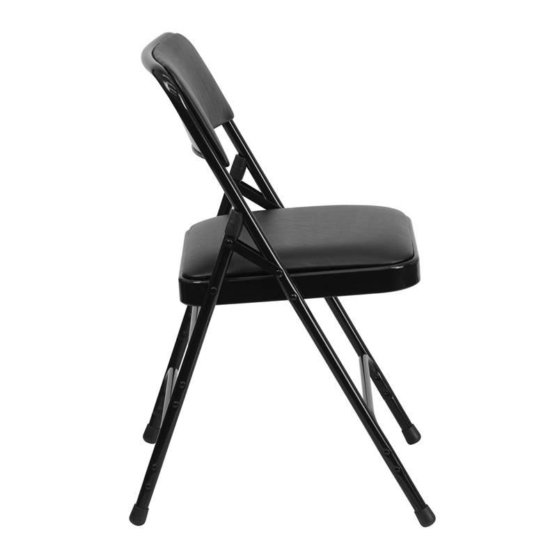 Heavy Duty Folding Chair mercial Steel Triple Brace Metal Black Padded Sea