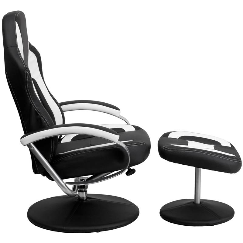 Racing Bucket Seat Recliner Gaming Game Room Lounge Chair Cool Black White Co