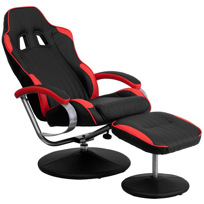 Racing Bucket Seat Recliner Racecar Game Room Lounge Chair Cool Red Black Coo