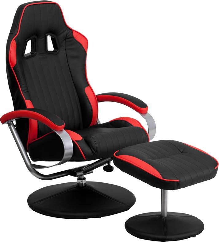 racing bucket seat recliner racecar game room lounge chair cool red black cool ebay. Black Bedroom Furniture Sets. Home Design Ideas