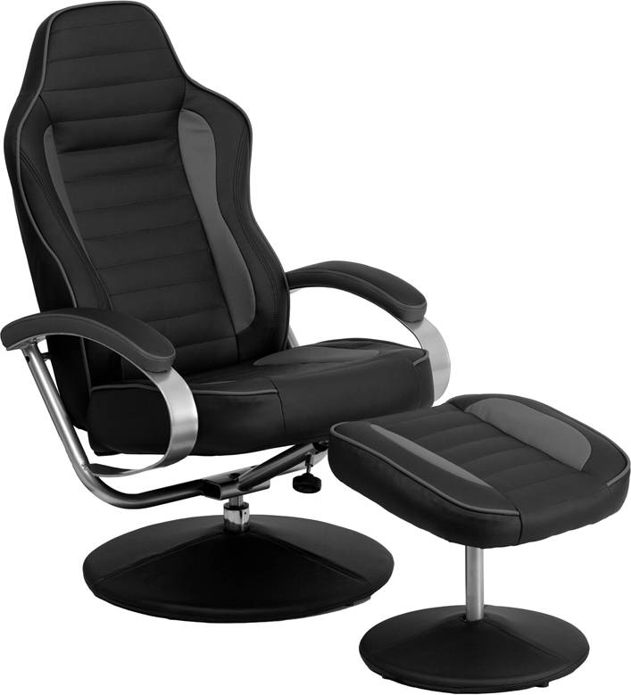 Racing Bucket Seat Recliner Racecar Game Room Lounge Chair Cool Gray Black Co
