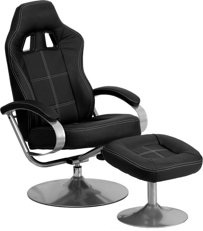 Racing Bucket Seat Recliner Racecar Game Room Lounge Chair Cool Black Cool N