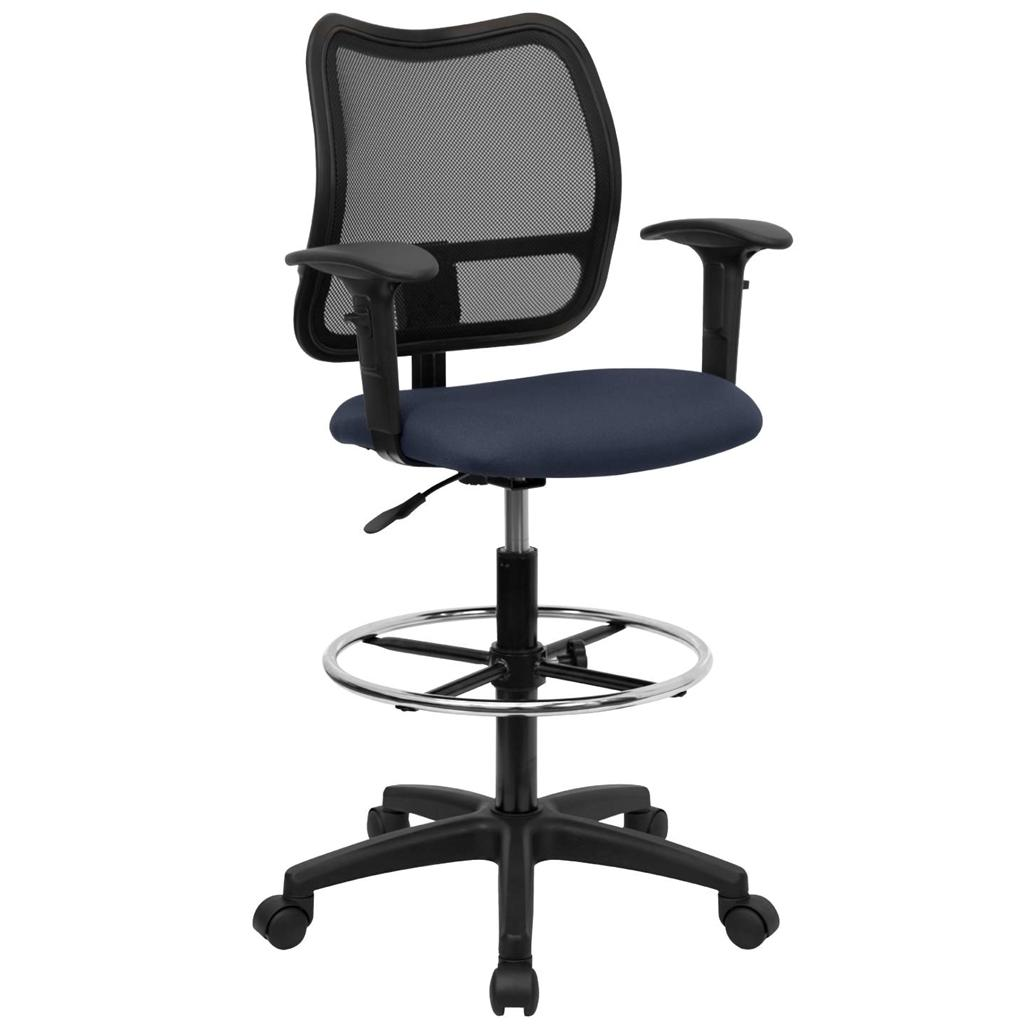 Tall Office Desk Chair Mid Back Mesh Drafting Stool Swivel Lumbar Support Arms