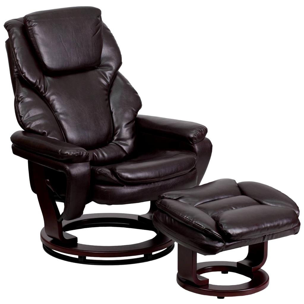 overstuffed leather recliner lounge chair comfort ottoman set swivel