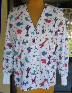 Cute Zoo Animals Nursing Uniform Scrub Jacket Sz M ✲