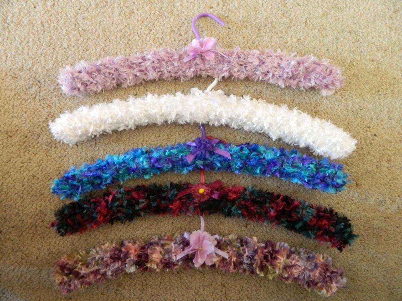 Knitting Coat Hangers : Vintage retro inspired padded handmade coat hangers set of