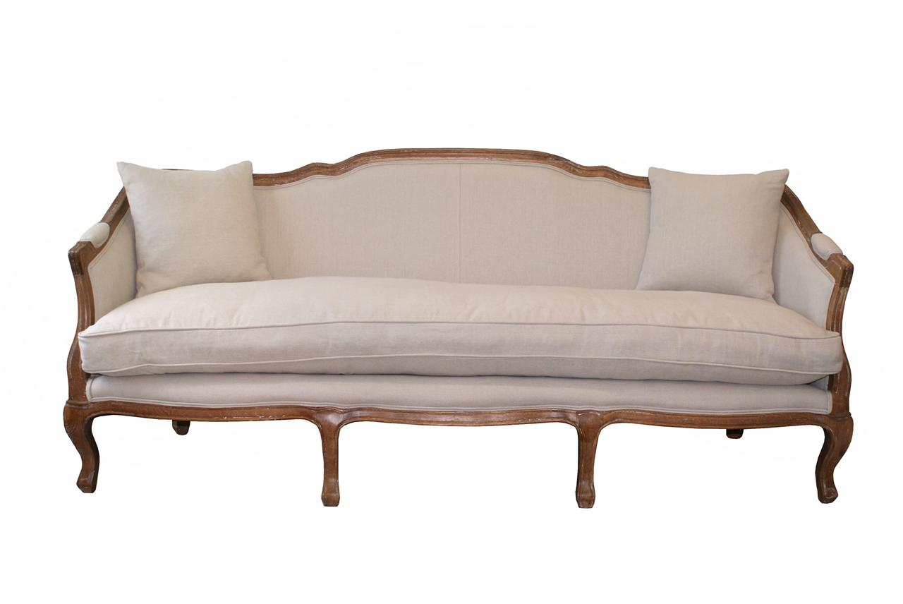 French Provincial Oak Linen Upholstered Sofa Couch Sale